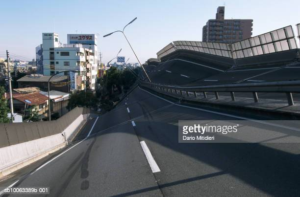 Japan Osaka Kobe highway destroyed by earthquake