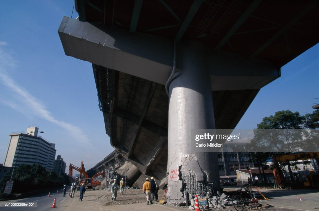 Japan, Osaka, Kobe, overpass destroyed in earthquake