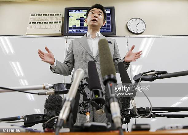 OSAKA Japan Osaka Mayor Toru Hashimoto speaks before reporters at the Osaka city offices on May 15 in a bid to clarify his remarks regarding the...