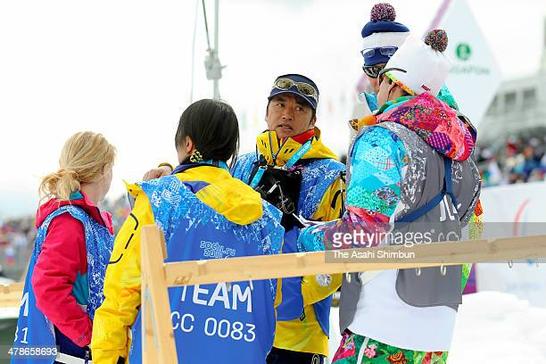 Japan Paralympic Biathlon head coach Hideki Arai appeals after the Biathlon Women's 12.5km Standing on day seven of the Sochi 2014 Paralympic Winter...