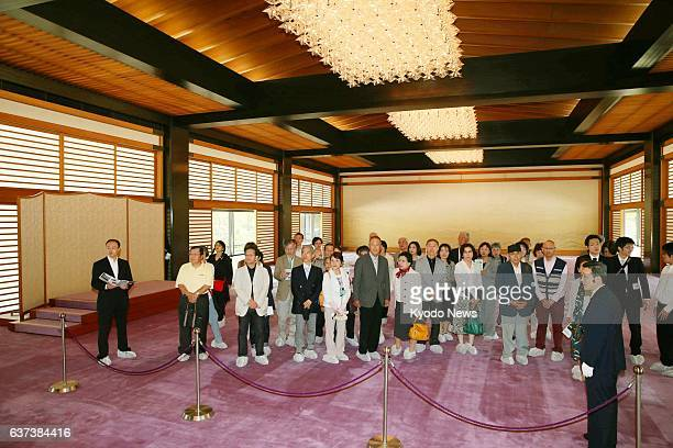 TOKYO Japan People chosen by lottery visit ''ShunjunoMa'' at the Imperial Palace opened to the public for the first time ever to commemorate Emperor...