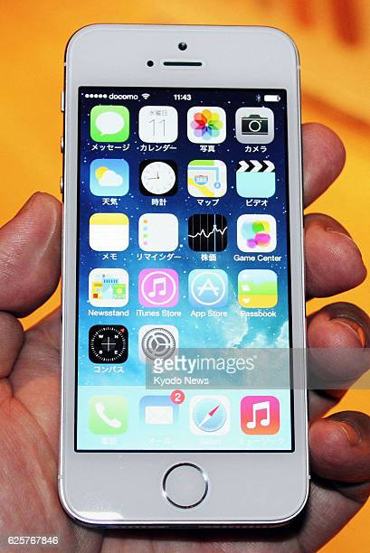 TOKYO Japan Photo shows an iPhone 5s displayed during a press event in Tokyo on Sept 11 2013 Apple Inc unveiled the iPhone 5s and iPhone 5c the...