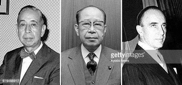TOKYO Japan Photo shows former Japanese Prime Minister Nobusuke Kishi former Japanese Vice Foreign Minister Hisanari Yamada and former US Ambassador...