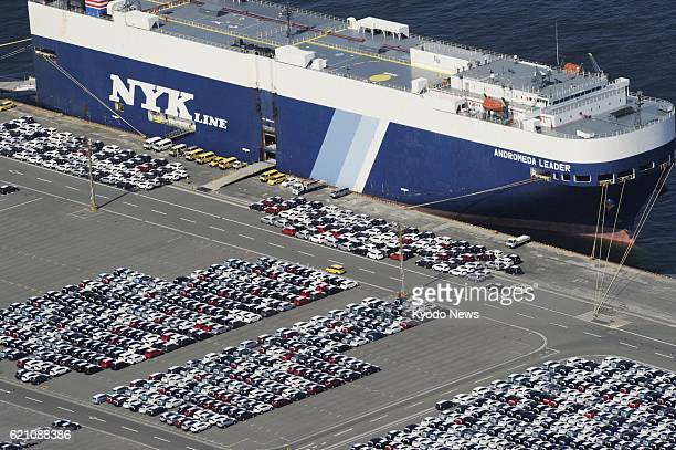 TAHARA Japan Photo taken from a Kyodo News helicopter on May 8 shows vehicles at Toyota Motor Corp's factory in Tahara Aichi Prefecture ahead of...