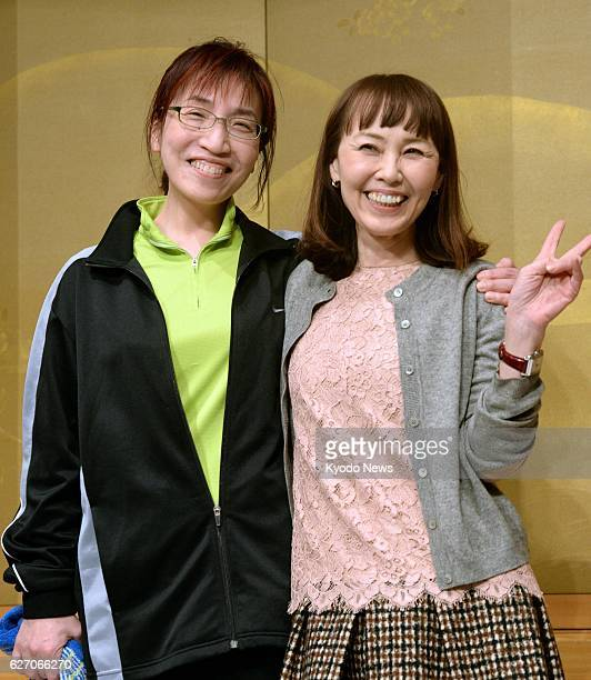TOKYO Japan Photo taken on Jan 16 shows Kaoruko Himeno and Makate Asai winners of the 150th Naoki Prize for popular literature in Tokyo Himeno and...