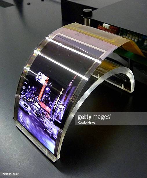 OSAKA Japan Photo taken on June 1 shows Sharp Corp's organic electroluminescence display panel with a new material The Osakabased electronics company...