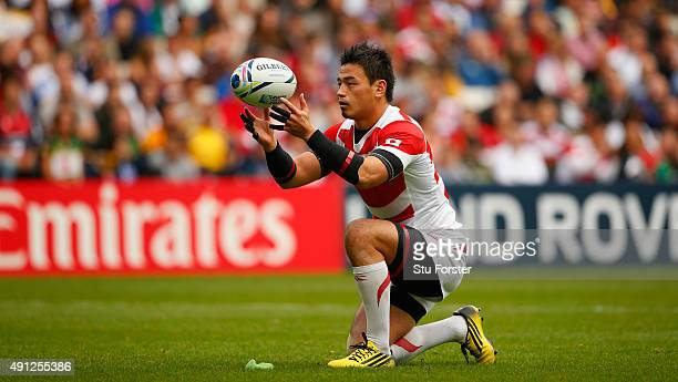 Japan player Ayumu Goromaru prepares to take a penalty during the 2015 Rugby World Cup Pool B match between Samoa and Japan at Stadium mk on October...
