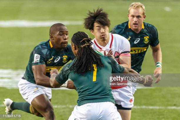 Japan player roughly tackled during Match South Africa 7s vs Japan 7s in Pool C matchup at the USA Rugby Sevens on March 1 at Sam Boyd Stadium in Las...