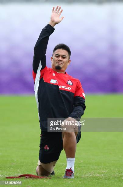 Japan player Yu Tamura looks on during a 2019 Rugby World Cup Japan team training session at Chichibunomiya Rugby Stadium on October 17, 2019 in...