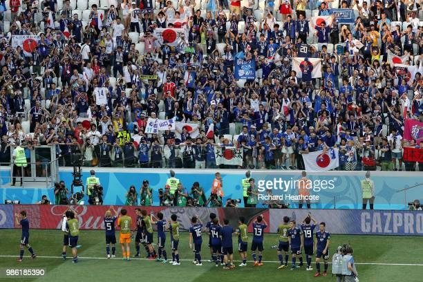 Japan players acknowledge the fans following the 2018 FIFA World Cup Russia group H match between Japan and Poland at Volgograd Arena on June 28 2018...