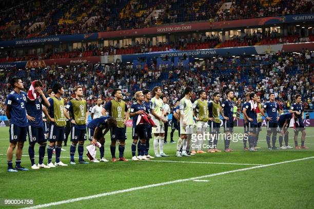 Japan players acknowledge the fans following the 2018 FIFA World Cup Russia Round of 16 match between Belgium and Japan at Rostov Arena on July 2...