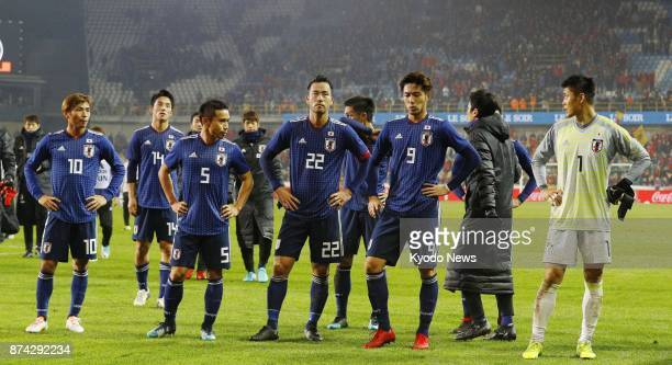 Japan players are pictured after a 10 loss to Belgium in a soccer friendly in Bruges Belgium on Nov 14 2017 ==Kyodo
