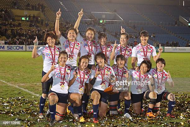 Japan players celebrate after winning the World Sevens Asia Olympic Qualification match between Japan and Kazakhstan at Prince Chichibu Stadium on...