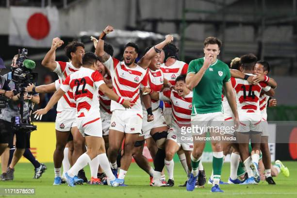 Japan players celebrate at the final whistle during the Rugby World Cup 2019 Group A game between Japan and Ireland at Shizuoka Stadium Ecopa on...