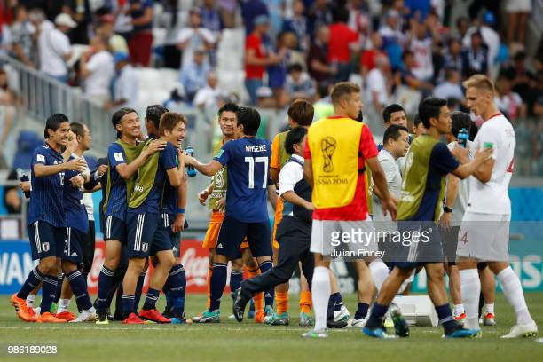 Japan players celebrate following the 2018 FIFA World Cup Russia group H match between Japan and Poland at Volgograd Arena on June 28 2018 in...