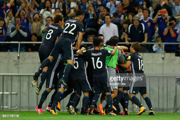 Japan players celebrate their second goal during the FIFA World Cup Qualifier match between Japan and Australia at Saitama Stadium on August 31 2017...
