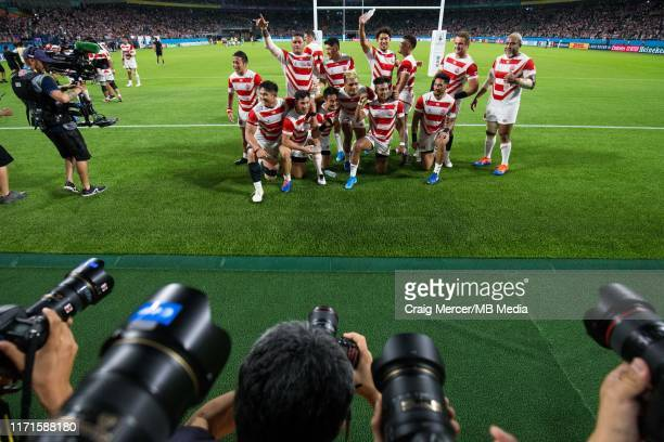Japan players celebrate victory and acknowledge the crowd after the Rugby World Cup 2019 Group A game between Japan and Ireland at Shizuoka Stadium...