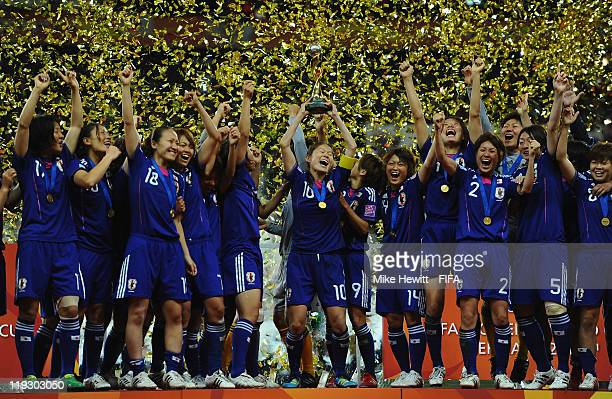 Japan players celebrate victory in the FIFA Women's World Cup 2011 Final match between Japan and USA at the FIFA World Cup stadium on July 17 2011 in...