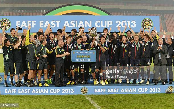 Japan players celebrate with the trophy after winning the EAFF East Asian Cup 2013 at Jamsil Stadium on July 28, 2013 in Seoul, South Korea.