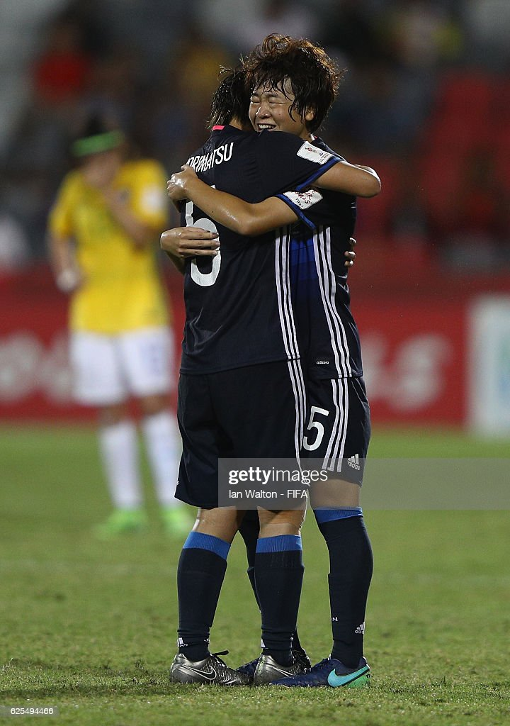 Japan players celebrates after wining the FIFA U-20 Women's World Cup, Quarter Final match between Japan and Brazil at the National Footbal Stadium on November 24, 2016 in Port Moresby, Papua New Guinea.