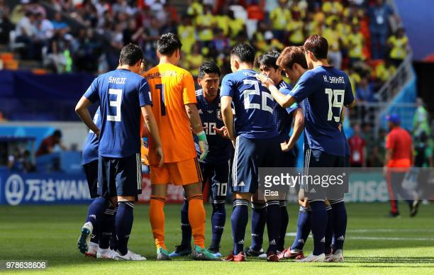 Japan players huddle prior to the 2018 FIFA World Cup Russia group H match between Colombia and Japan at Mordovia Arena on June 19 2018 in Saransk...
