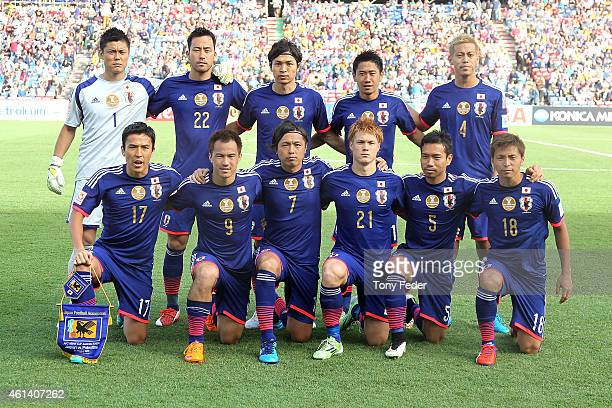 Japan players line up before the match during the 2015 Asian Cup match between Japan and Palestine at Hunter Stadium on January 12 2015 in Newcastle...