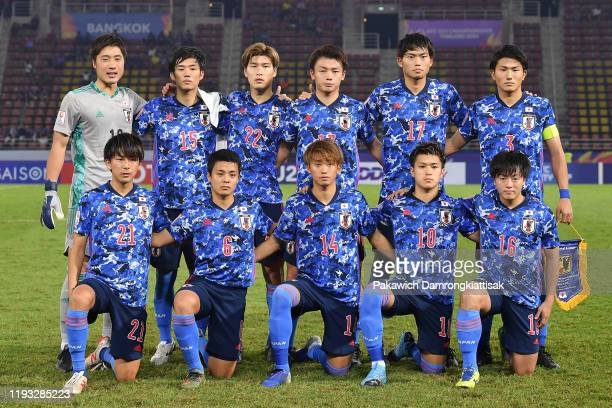 Japan players line up for the team photos prior to the AFC U-23 Championship match between Syria and Japan at Thammasat Stadium on January 12, 2020...