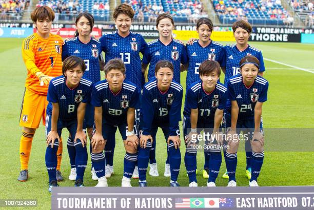 Japan players pose for photos prior to the friendly match between Japan and Brazil on July 29 at Pratt Whitney Stadium in Hartford CT Brazil defeated...
