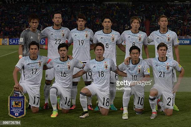 Japan players post for a team picture before the 2018 World Cup Qualifiers match between Thailand and Japan at Rajamangala Stadium in Bangkok...