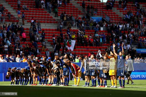 Japan players shows appreciation to the fans after the 2019 FIFA Women's World Cup France group D match between Japan and Scotland at Roazhon Park on...