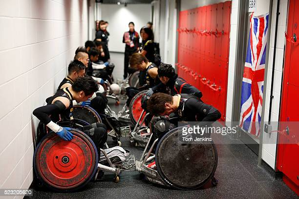Japan players warm up in a corridor before a match in the World Wheelchair rugby challenge at the Copper Box Arena Queen Elizabeth Olympic Park on...
