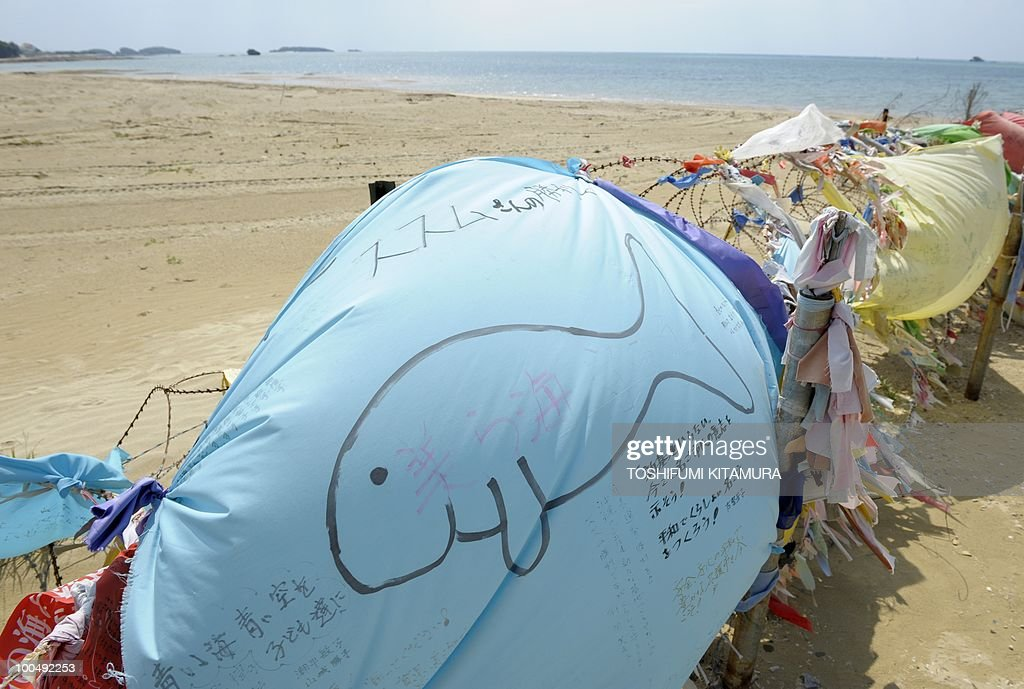 'Japan PM's coalition strained by US base deal'. (FILES) An anti-US base banner painted with a dugong, an animal that is often seen off the coast, is displayed onto the barbed wire and a blockade dividing the US Marine Corps facilities of Camp Schwab and the rest of the city of Nago in Okinawa prefecture on April 25, 2010. Japan's Premier Yukio Hatoyama faced a fresh political headache when a left-leaning coalition partner attacked his plan to allow for a US airbase to be relocated within Okinawa island.