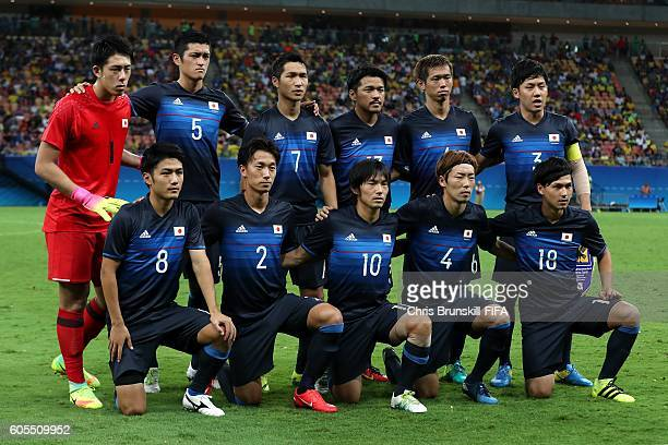 Japan pose for a team photograph ahead of the Men's Olympic Football match between Nigeria and Japan at Arena Amazonas on August 4, 2016 in Manaus,...
