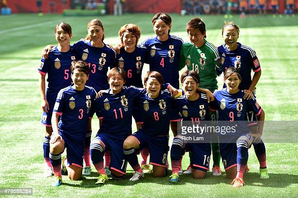 Japan poses for a team photo before taking on the United States in the FIFA Women's World Cup Canada 2015 Final at BC Place Stadium on July 5 2015 in...