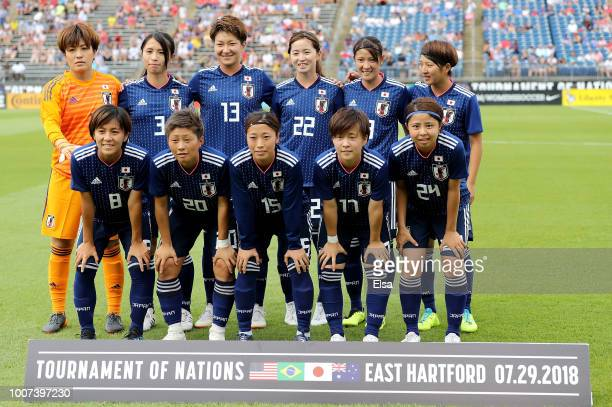 Japan poses for a team photo before the match against Brazil during the 2018 Tournament of Nations at Pratt Whitney Stadium on July 29 2018 in East...