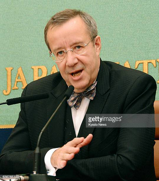 TOKYO Japan President Toomas Ilves of Estonia speaks at the Japan National Press Club in Tokyo on March 6 2014 Ilves denounced Russia's tightening...