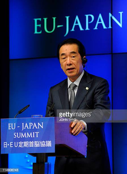 Japan Prime Minister Naoto Kan gives a joint press conference after their 20th EUJapan Summit with President of the European Council Herman Van...