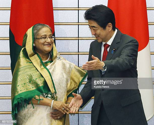 TOKYO Japan Prime Minister Shinzo Abe and Bangladesh Prime Minister Sheikh Hasina are pictured ahead of their talks at Abe's office in Tokyo on May...