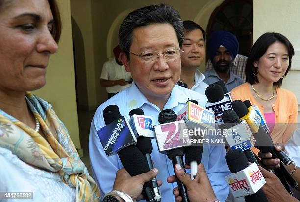 Japan Professors Kaoru Yamanouchi speaks to media alongside professors Teppei Fujiwara and Miwako Hosoda and Indian Dhillon Marty Foundation...