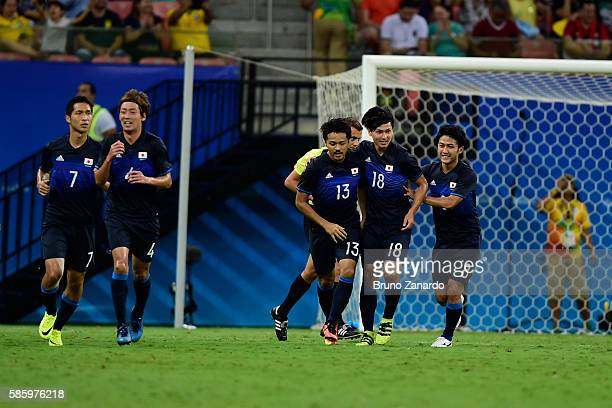Japan scores his second goal during 2016 Summer Olympics match between Japan and Nigeria at Arena Amazonia on August 4, 2016 in Manaus, Brazil.