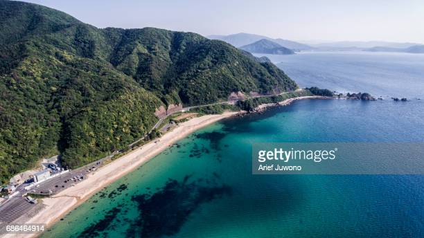 japan sea high angle view - fukui prefecture - fotografias e filmes do acervo