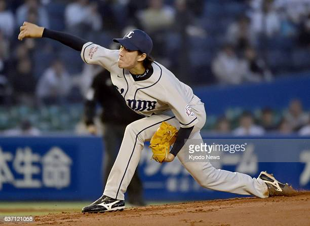 CHIBA Japan Seibu Lions righthander Takayuki Kishi is pictured during a baseball game against the Lotte Marines at QVC Marine Field in Chiba on May 2...