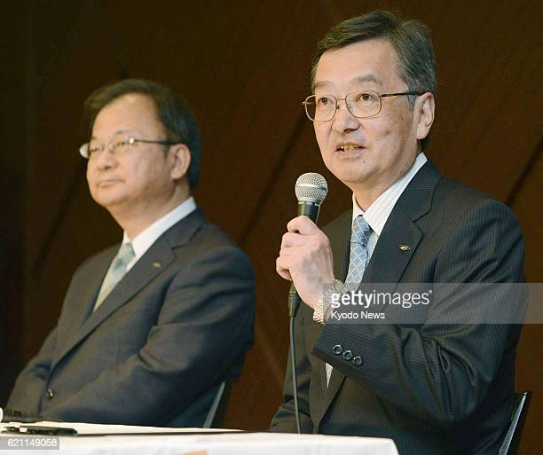 TOKYO Japan Sharp Corp Executive Vice President Kozo Takahashi speaks during a press conference in Tokyo on May 14 2013 Takahashi will be promoted to...