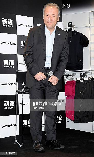 Japan soccer team head coach Alberto Zaccheroni attends the Addidas Shinjuku flagship store opening press preview on April 5 2012 in Tokyo Japan