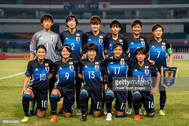 Japan squad pose for team photo Aguri Suzuki #2 Nana Ono #12 Reina Nagashima #19 Riko Ueki #5 Riko Ushijima #7 Honoka Hayashi #10 Fuka Nagano #9...