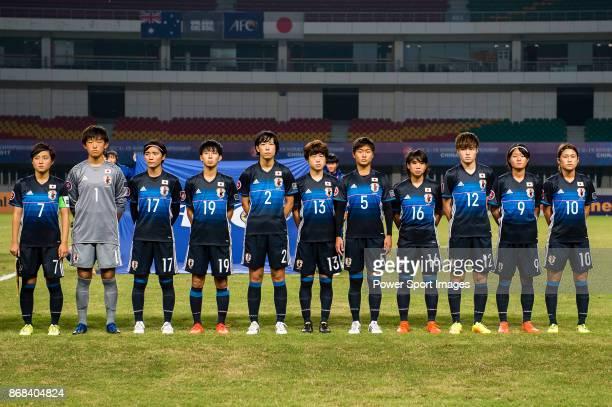 Japan squad pose for team photo Honoka Hayashi #1 Aguri Suzuki #17 Nanami Kitamura #19 Riko Ueki #2 Nana Ono #13 Asato Miyagawa #5 Riko Ushijima #16...