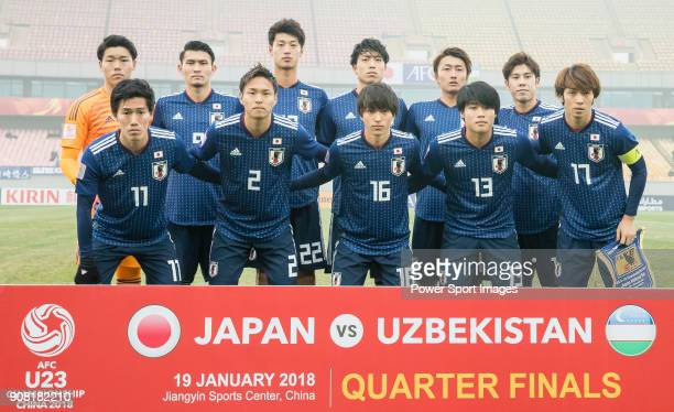 Japan squad poses for photos prior to the AFC U23 Championship China 2018 Quarterfinals match between Japan and Uzbekistan at Jiangyin Stadium on 19...