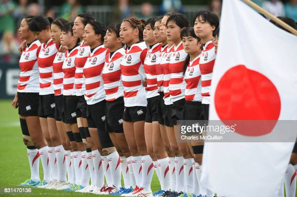 Japan stands for their national anthem before the Womens Rugby World Cup 2017 Pool C game between Ireland and Japan at UCD Bowl on August 13 2017 in...