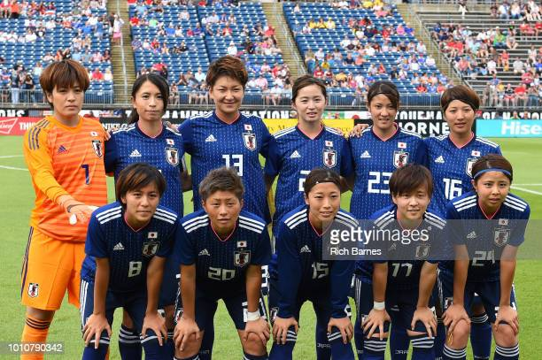Japan starters pose for a photo prior to the match against Brazil in a Tournament of Nations game played at Pratt Whitney Stadium on July 29 2018 in...