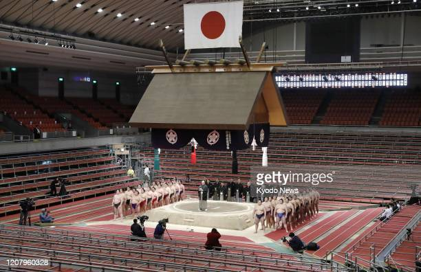 Japan Sumo Association Chairman Hakkaku delivers a speech in closing the Spring Grand Sumo Tournament at an empty Edion Arena Osaka on March 22 2020...